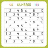 Zahlen für Kinder Arbeitsblatt für Kindergarten und Vorschule Ausbildung, zum von Zahlen zu schreiben und zu zählen Übungen für K vektor abbildung