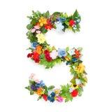 Zahlen gemacht von den Blättern u. von den Blumen Stockfoto