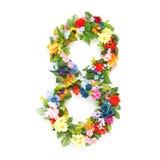 Zahlen gemacht von den Blättern u. von den Blumen Stockbild