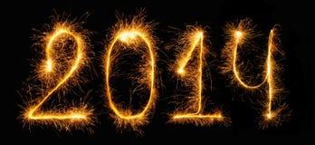 2014 - Zahlen gemacht von den Wunderkerzen Lizenzfreies Stockbild