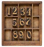 Zahlen im Weinlesehhhochhdrucktypen Stockbild
