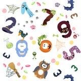 Zahlen mögen Symbole des Halloween-Musters auf Weiß Stockfotos