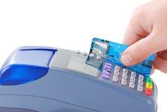 Zahlen mit Kreditkarte Stockfotos