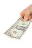 Zahlen Sie ein U S 1 Dollarschein Stockbild
