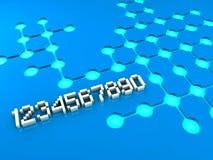 Zahlen und Kreismuster auf blauem Hintergrund Stockbilder