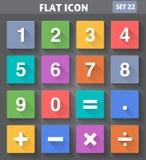 Zahlen und mathematische Ikonen stellten in flache Art ein Stockbild