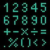 Zahlen und mathematische Zeichen von den Pixeln Stockbild