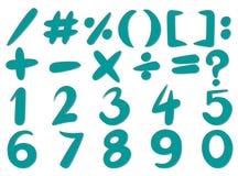 Zahlen und unterzeichnet herein blaue Farbe Stockbilder