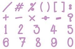 Zahlen und unterzeichnet herein rosa Farbe Stockfotos
