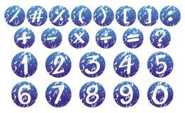 Zahlen und Zeichen auf blauen Ausweisen Stockbild