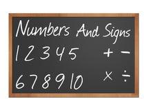 Zahlen und Zeichen auf Tafel Lizenzfreies Stockfoto
