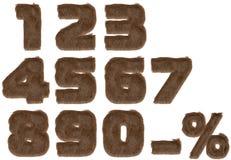Zahlen vom Pelzalphabet. Lizenzfreies Stockfoto