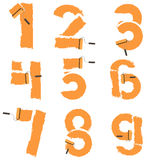 Zahlen von 0 bis 9 werden mit Farbenrolle gezeichnet Lizenzfreies Stockbild