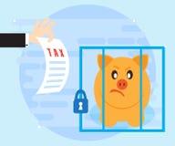 Zahlen von Gewerbeertragsteuern Nicht fristgerechte Zahlung von und Geheimhaltungseinkommen können zu Gefangenschaft führen Flach lizenzfreie abbildung