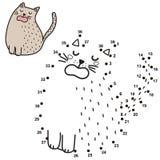 Zahlenspiel f?r Kinder Schlie?en Sie die Punkte an und zeichnen Sie eine lustige Katze und Miauen sagen stock abbildung