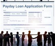 Zahltag-Darlehens-Anmeldeformular-Gehalts-Schuld-Konzept stockbild