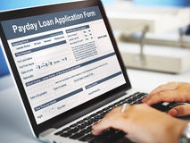 Zahltag-Darlehens-Anmeldeformular-Gehalts-Schuld-Konzept lizenzfreies stockbild