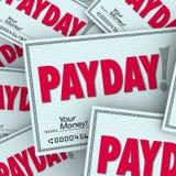 Zahltag-Wort überprüft nominal-Einkommen-erworbenen Arbeitsjob Lizenzfreies Stockbild