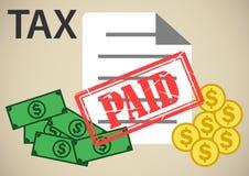 Zahlung der Steuerillustration mit dem Stempel gezahlt vektor abbildung