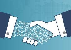 Zahlungen mit bitcoin Konzept Illustration von zwei Geschäftsleuten, die Hände rütteln stockbilder