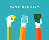 Zahlungs-Methoden-flache Konzept-Vektor-Illustration Lizenzfreies Stockfoto