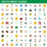 100 Zahlungsikonen eingestellt, Karikaturart lizenzfreie abbildung