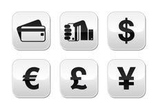 Zahlungsmethodentasten stellten - Kreditkarte, durch Bargeld ein stock abbildung