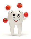 Zahn 3d, der mit roten Äpfeln jongliert stock abbildung
