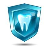 Zahn auf einem blauen Schild Stockbild