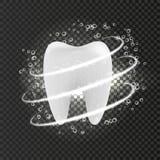 Zahn auf einem transparenten Hintergrund mit einem Schutzeffekt und einer Blase des Wassers lizenzfreie abbildung