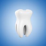 Zahn 3D in der Hand des Mannes Extremer Nahaufnahmezahn stock abbildung