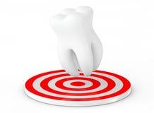Zahn 3D in der Hand des Mannes Zahn über Ziel Wiedergabe 3d vektor abbildung