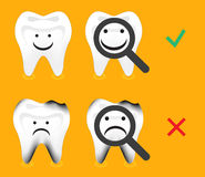 Zahn gesund und Zerfall, Zahnverfall, Zahnvektor stock abbildung