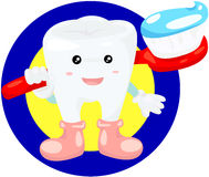 Zahn mit Zahnbürste Stockfotografie