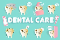 Zahn mit Zahnpflegen lizenzfreie abbildung