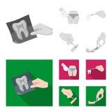 Zahn, Röntgenstrahl, Instrument, Zahnarzt und andere Netzikone in der einfarbigen, flachen Art Chirurg, Abszeß, Skalpellikonen im vektor abbildung
