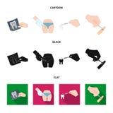 Zahn, Röntgenstrahl, Instrument, Zahnarzt und andere Netzikone in der Karikatur, Schwarzes, flache Art Chirurg, Abszeß, Skalpelli lizenzfreie abbildung