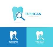 Zahn- und Lupenlogokombination Zahnmedizinisches und Lupensymbol oder -ikone Einzigartiges Klinik- und Suchfirmenzeichendesign Stockfotos