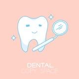 Zahn- und Mundspiegelkarikaturillustration Stock Abbildung