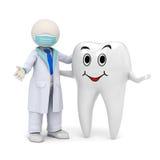 Zahnarzt 3d mit einer lächelnden Zahnikone lizenzfreie abbildung