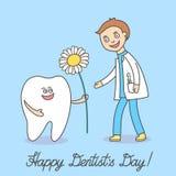 Zahnarzt Day Der Karikaturzahn, der ein Gänseblümchen hält und gibt es dem Zahnarztmann stock abbildung