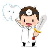 Zahnarzt, der ein Zeichen hält Stockbild