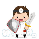 Zahnarzt, der ein Zeichen hält Lizenzfreies Stockfoto