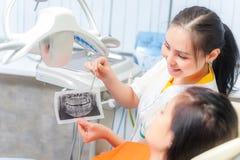 Zahnarzt, der einem Patienten Röntgenstrahl zeigt Lizenzfreie Stockfotos