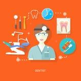 Zahnarzt in der Uniform mit Instrument auf Arbeitsplatz vektor abbildung