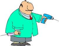 Zahnarzt mit einem großen Bohrgerät und einer Spritze lizenzfreie abbildung