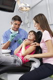 Zahnarzt Reassuring Frightened Girl vor Kontrolle Lizenzfreies Stockbild