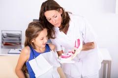 Zahnarzt Teaching Patient How, zum der Z?hne zu putzen stockfotografie