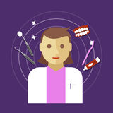 Zahnarztbesetzungsvektor-Illustrationsfrau Lizenzfreies Stockfoto