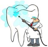 Zahnarztdruck, der einen riesigen Zahn wäscht Stockbilder